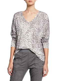 XCVI Classic Leopard Print V-Neck Long-Sleeve Top