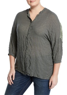 XCVI Cosmina Ruffle-Back Button-Front Blouse  Plus Size