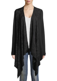 XCVI Embroidered Draped Cardigan