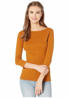 XCVI Essentials Minim 1x1 Rib Long Sleeve Wide Neck Tee