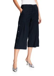 XCVI Flicker Wide-Leg Cropped Twill Trousers w/ Snap Detail