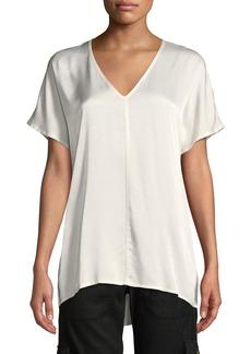 XCVI Milani Dual Satin V-Neck T-Shirt Top