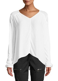 XCVI Mimoza Mesh-Shoulder Blouse