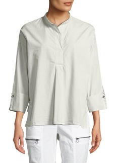 XCVI Moa High-Low Cotton/Silk Poplin Blouse