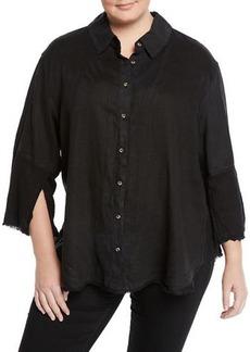 XCVI Neta Button-Down Distressed Blouse  Plus Size