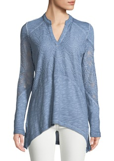 XCVI Nia Long-Sleeve Crochet Tunic Tee