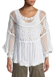 XCVI Pastoral Scoop-Neck Crochet Poncho Top w/ Built-in Tank Top