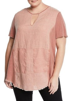XCVI Plus Size Caris Distressed Short-Sleeve Washed Top