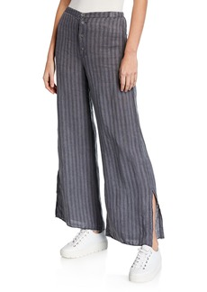 XCVI Plus Size Delta Pinstripe Button-Fly Wide-Leg Linen Trousers w/ Slits