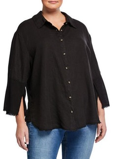 XCVI Plus Size Neta Button-Down Distressed Blouse