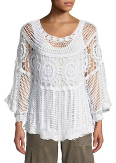 XCVI Plus Size Pastoral Scoop-Neck Crochet Poncho Top w/ Built-in Tank Top