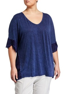 XCVI Plus Size Philo Short-Sleeve Tie-Dye Tunic