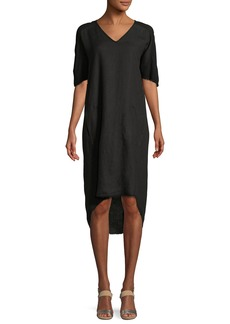 XCVI Raw-Edge High-Low Linen Dress