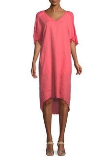 XCVI Raw-Edge High-Low Linen Dress
