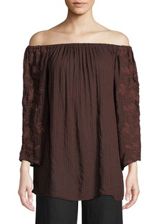 XCVI Sutton Off-The-Shoulder Embroidered-Sleeve Blouse