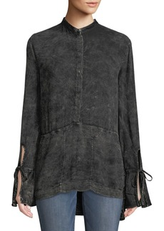 XCVI Tereza Distressed Bell-Sleeve Blouse