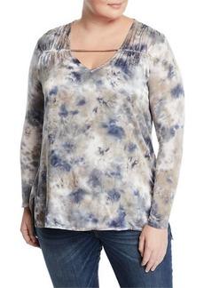 XCVI Trishna Ruched Shoulder Long-Sleeve Top  Plus Size