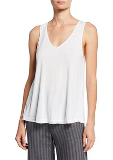 XCVI V-Neck Jersey Tank with Voile Back