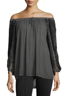 XCVI Velvet-Sleeve Off-the-Shoulder Blouse