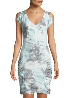 XCVI Athene Ruched Stretch-Poplin Dress