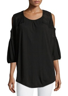 XCVI Chika Lace-Shoulder Jersey Top