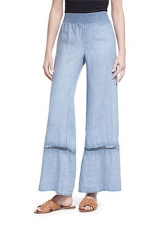 XCVI Hermes Ladder-Stitch Linen Pants