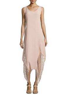 XCVI Kala Crochet-Trim Handkerchief Dress W/Tie