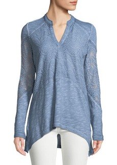 XCVI Nia Long-Sleeve Crochet Tunic Tee