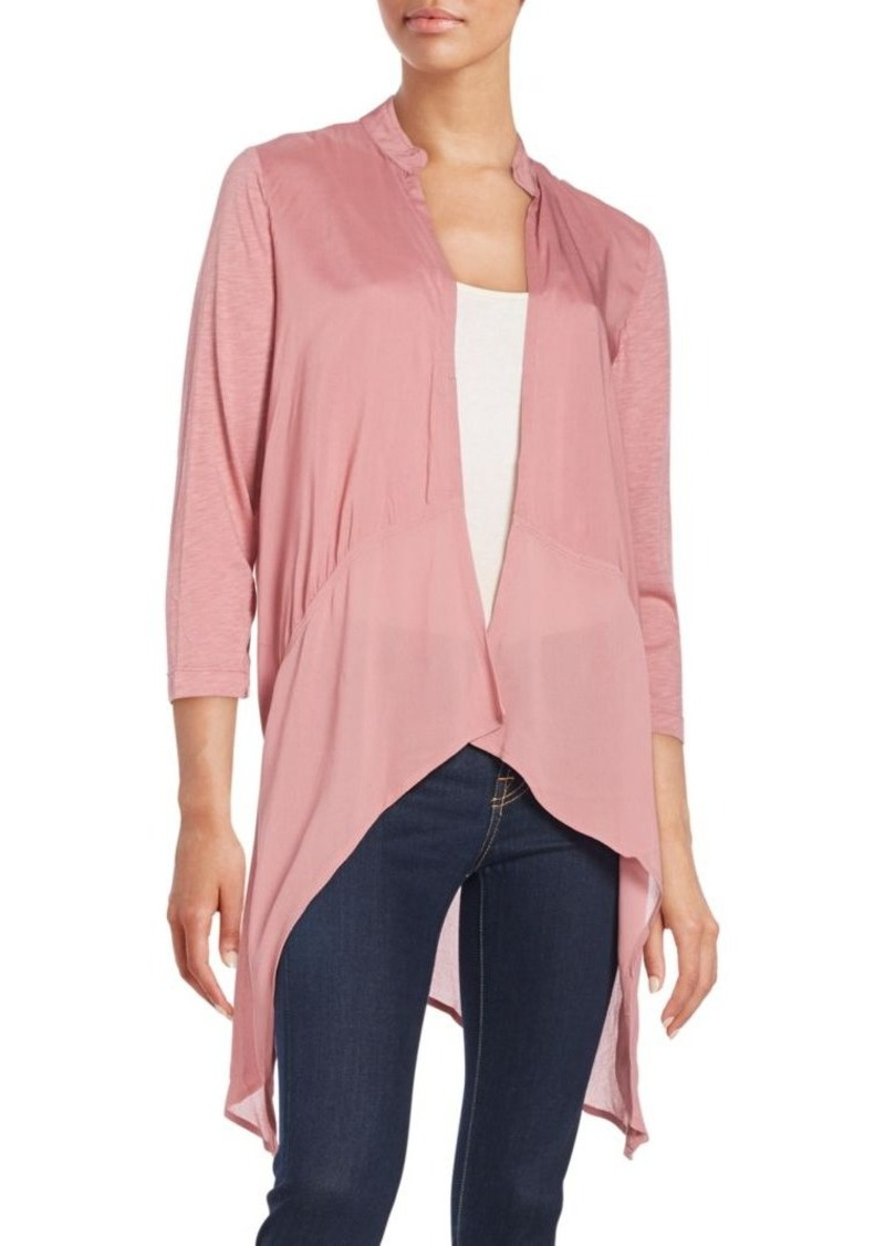 XCVI Relaxed-Fit Stand Collar Cardigan