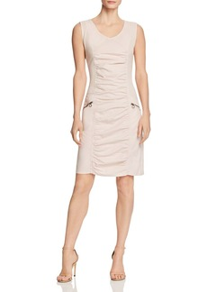 XCVI Ruched Mixed-Media Dress