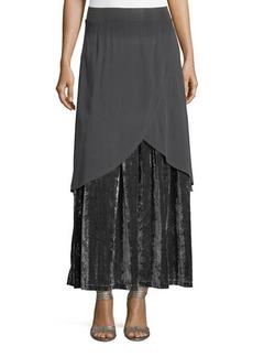 XCVI Sorrel Georgette & Velvet Maxi Skirt