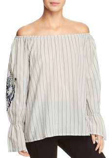 XCVI Striped & Embroidered Off-the-Shoulder Top