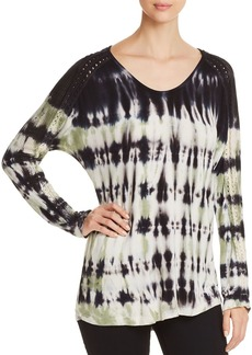 XCVI Tie-Dyed Crochet-Sleeve Top