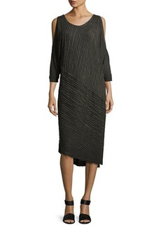 XCVI Trella Cold-Shoulder Rope-Trim Knit Dress