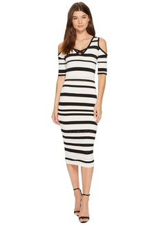 XOXO Pointelle Stitch Stripe Midi Dress