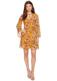 XOXO Printed Harness Neck Dress