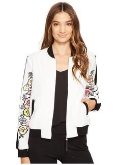 XOXO Bomber Jacket w/ Embroidered Sleeves