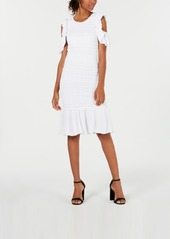 Xoxo Cold-Shoulder Ruffle-Hem Dress