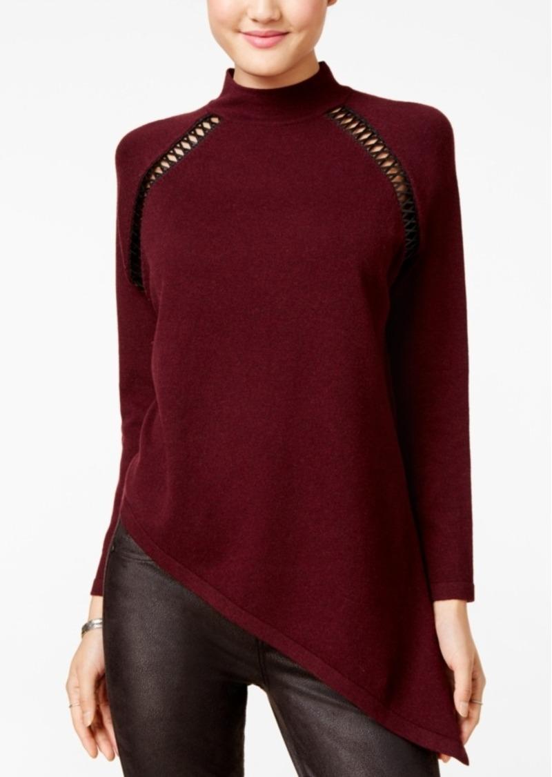Xoxo Juniors' Asymmetrical Faux-Leather-Trim Sweater