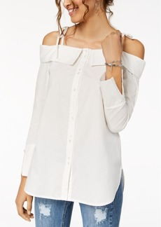 Xoxo Juniors' Button-Front Off-The-Shoulder Top