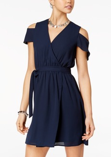 Xoxo Juniors' Cold-Shoulder Wrap Dress