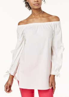 Xoxo Juniors' Cotton Off-The-Shoulder Double-Tie Top