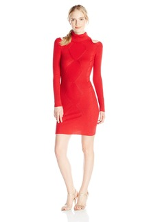 XOXO Junior's Cut Out Shoulder Turtleneck Cable Rib Sweater Dress
