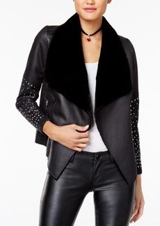 Xoxo Juniors' Draped Faux-Leather Jacket