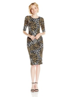 XOXO Junior's Elbow Sleeve Leopard Print Sheath Midi Dress
