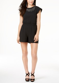 Xoxo Juniors' Embellished Open-Back Romper