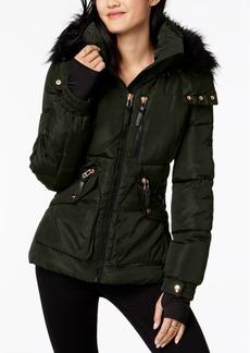 Xoxo Juniors' Faux-Fur-Trim Hooded Puffer Coat