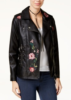 Xoxo Juniors' Floral-Embroidered Moto Jacket