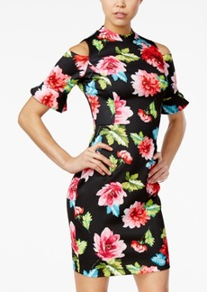 Xoxo Juniors' Floral-Print Cold-Shoulder Sheath Dress