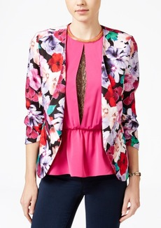 Xoxo Juniors' Floral-Print Ruched-Sleeve Blazer